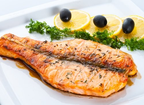 Delicious main courses of pink salmon