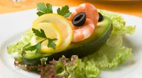 picture - Avocado with salad and shrimp