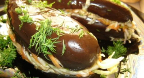 Eggplant stuffed with marinated