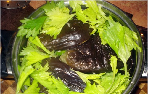 Eggplant and celery in acetic filling
