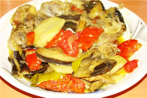 Eggplant with roasted meat and tarragon