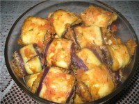 picture - Eggplant in eggs