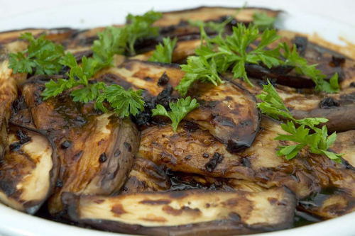 picture - Eggplant fried with garlic