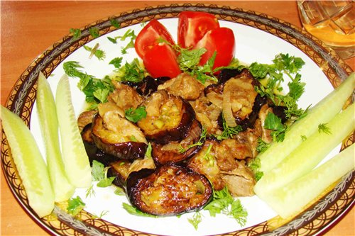 Eggplant fried with meat