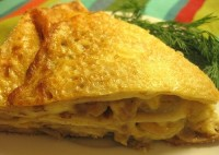 Pancake pie with cabbage and mushrooms