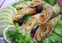 Pancake rolls with fish