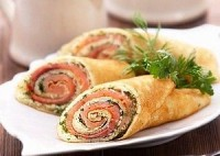 picture - Pancake rolls with salmon