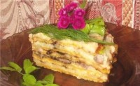 Pancake pie with foie herring