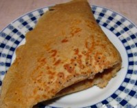Pancakes with buckwheat flour with herring