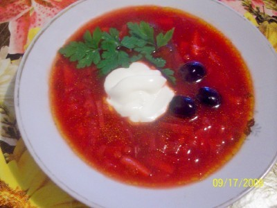 Soup with mushrooms in Kuban