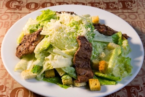 picture - Caesar salad with olives and cucumbers