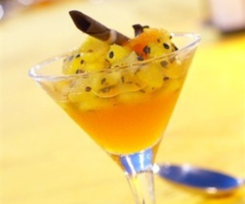 Dessert of pineapple ginger rum syrup