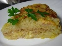 Children casserole with minced meat and potatoes