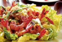 Diet green salad with shrimp