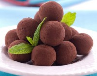 Homemade chocolate truffles with cognac