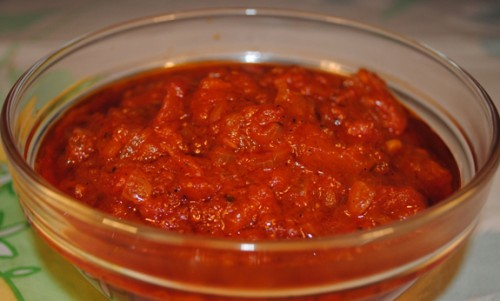 Homemade tomato sauce with spices-blank