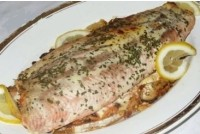 Mackerel stuffed with pink salmon