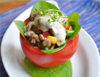 Stuffed chicken-mushroom salad tomatoes
