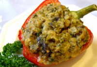 Stuffed with rice, prunes, sweet pepper