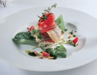 Norwegian herring fillets with salad of young shoots of green