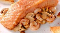 Trout with mushrooms and shrimp