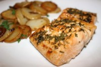 Trout with dill and lemon sauce