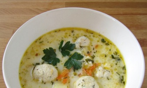 French cheese soup with meatballs