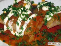 Stuffed cabbage with mustard sauce