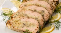 picture - Pink salmon stuffed with mushrooms and cheese