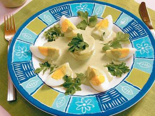 Eggs in Japanese sauce-horseradish