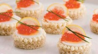 Canape with egg and caviar
