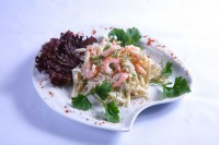 Potato-vegetable salad with boiled squid