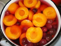 Compote with cherries, apples and peaches