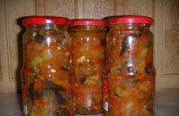 Canned salad with eggplant