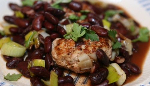 Turkey cutlets with beans