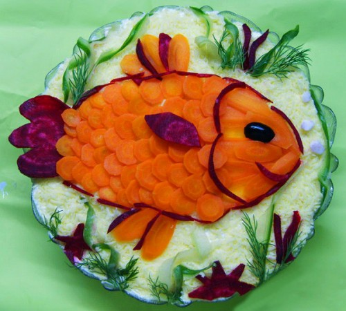 Beautiful Christmas buffet: salads-fish
