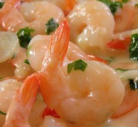 Prawns with creamy garlic sauce