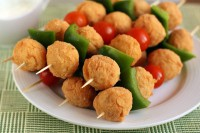 Croquettes of chicken with vegetables