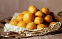 Cheese and potato croquettes with mustard sauce and almonds