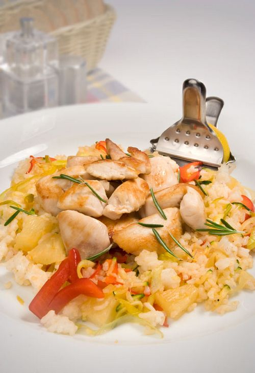 picture - Chicken with rice, pineapple and vegetables