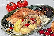 Chicken legs with rice and bananas