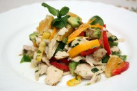picture - Chicken salad with sweet peppers, orange and avocado