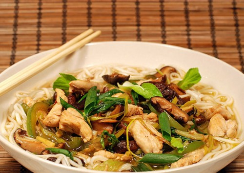 Udon noodles with mushrooms and chicken Breasts