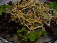 Light salad with chicken and omelet Korean straw
