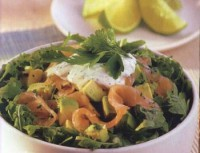 Light salad with salmon, and avocado winter cress