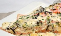 Salmon, baked with sauce with herbs