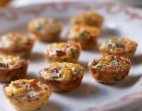 Mini vegetable omelet with cheese and ham