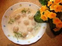 Milk soup with dumplings from monkey