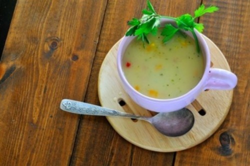 Milk soup with cod, pepper and celery