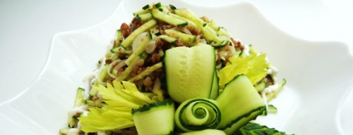 Cucumber salad with buckwheat